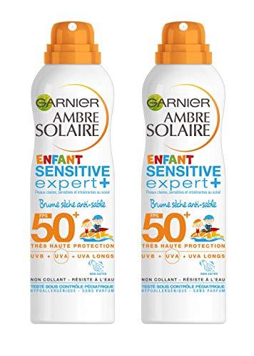 Garnier Ambre Solaire Sensitive Expert+ Enfant Brume Sèche Anti-Sable FPS 50+ 200 ml Lot de 2