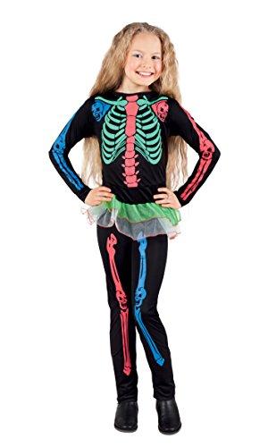 Boland- Costume Scheletro Neon Skeleton Girl per Bambini, Multicolore, 7-9 anni, 78013