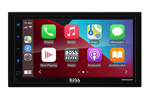 BOSS Audio Systems Elite BV800ACP Car Multimedia Player with Apple CarPlay - Android Auto Double Din Car Stereo, 6.75 Inch LCD Capacitive Touchscreen Bluetooth MP3 USB A/V in AM/FM Receiver, Steering