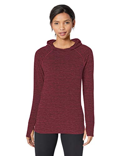 Amazon Essentials Women's Brushed Tech Stretch Popover Hoodie, Burgundy Space dye, X-Large