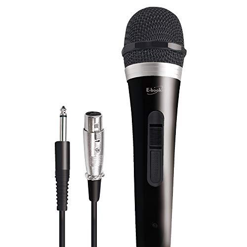 E-books Mic1 Microfono cardioide palmare dinamico vocale con Interruttore di accensione/spegnimento e Cavo Audio XLR Staccabile da 10 Piedi per Mixer, Amplificatore