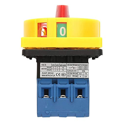 3 polos, 2 posiciones, protección para los dedos, tamaño pequeño, interruptor selector de potencia, interruptor de carga, interruptor giratorio, interruptor de 440 V para máquinas(25A)