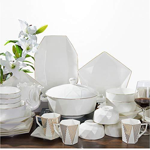 MMFXUE Juego de vajilla de 56 Piezas Juego de vajilla de Porcelana Blanca Marfil, Juego de vajilla de cerámica con Cuencos, Platos de Postre, Platos de Sopa, Platos de Cena