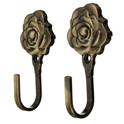 Qingsb 2 stuks metalen roos bloem gordijn Tie terug Tieback houders muur haken Decor, groen
