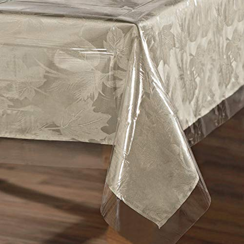 sancua Clear Plastic 100% Waterproof Tablecloth - 60 x 84 Inch - Vinyl PVC Rectangle Table Cloth Protector Oil Spill Proof Wipe Clean Table Cover for Dining Table, Parties & Camping, Crystal Clear