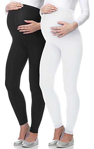 Be Mammy Leggings Premaman Lunghi 02 (Nero/Bianco, M)