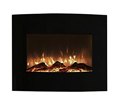 Northwest 80-455S Mini Curved Black Fireplace With Wall & Floor Mount, 25""