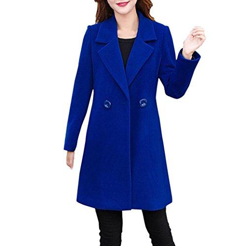 VEMOW Herbst Winter Elegante Damen Cashmere-Like Dicker Jacke Outwear Parka Cardigan Casual Täglichen Business Schlank Mantel(Blau, 38DE / L CN)