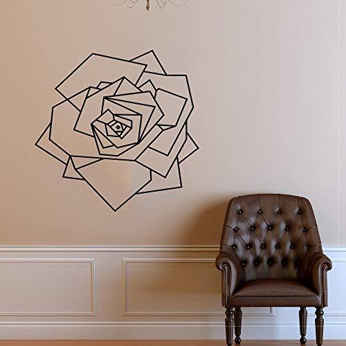 Aplique de rosa flor geométrica extraíble vinilo pared pegatina Mural chica habitación salón de belleza pegatina de fondo A7 58X57CM