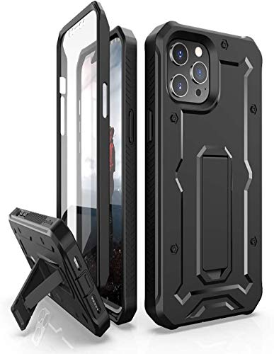ArmadilloTek Vanguard Case Compatible with iPhone 12 Pro Max (6.7 inches) Military Grade Full-Body Rugged with Built-in Screen Protector and Kickstand - Black