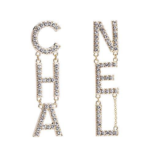 nobrand Übertriebene Temperament Lange Ohrringe Diamant Buchstaben Ohrringe weibliche Persönlichkeit einfache Beschichtung echte Gold Ohrringe Ohrringe