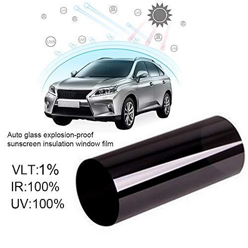 Lifemaison Auto Tönungsfolie Schwarz 1% Autofenster Sonnenschutz UV-Schutz Selbstklebend Sonnenschutzfolie Reduziert Wärme 50cmx3m 1 Stück