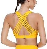 Queenieke, reggiseno sportivo da donna con fascia di sostegno medio e spalline sulla schiena Fiore giallo M