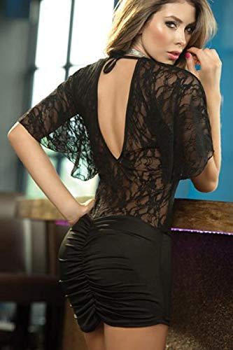 Dessous für Frauen sexy Sexy erotische Dessous Plus Größe sexy Dessous sexy Spitze Stretch sexy Pyjamas ausgesetzt Hüften nackt zurück Nachtclub Rock Versuchung-schwarz_Eine Größe
