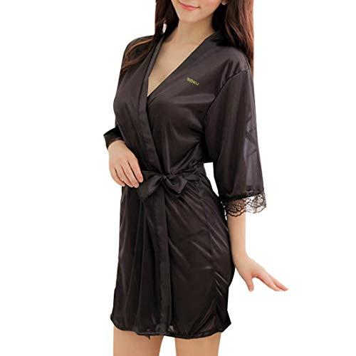Sidiou Group Vestido Pijama Mujer Kimono Corto Bata de Satén Lencería Kimono del Cordón Satén Seda de Hielo Bata Albornoz Camisón (XL, Estilo 1-Negro)
