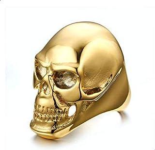 خاتم للرجال على شكل جمجمة ذهبية مقاس 9