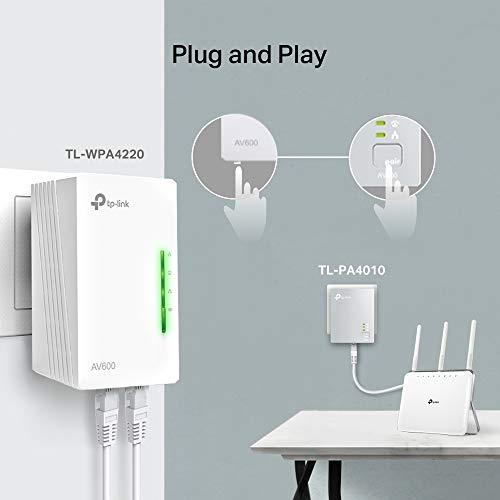 TP-Link TL-WPA4220KIT 2-Port Powerline Adapter WiFi Starter Kit, Range Extender, Broadband/WiFi Extender, WiFi Booster/Hotspot, No Configuration Required, UK Plug