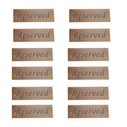 B Blesiya Cartel Reservado de Mesa en Restaurante de Acero Inoxidable Color Bronce de 12 Unidades
