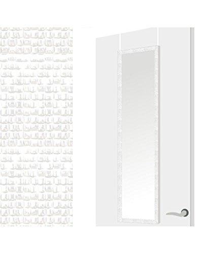 Home Line 122553 Espejo para Puerta con Formas geométricas, Color Blanco, PVC, 36x126x2 cm