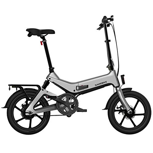 WFIZNB 36V 250W 7,5Ah 16inch Smart-Folding Elektro-Moped-Fahrrad 25 km/h Höchstgeschwindigkeit 65km Bereich E-Bike,Grau