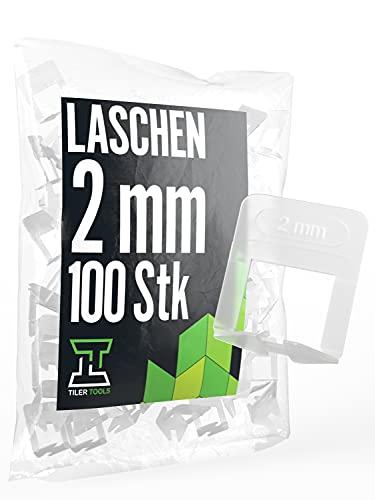 TILER TOOLS® Fliesen Nivelliersystem 2mm Laschen 100er[Viele Größen & Fugenbreiten verfügbar] NEU & INNOVATIV|Fliesen Abstandshalter|Fliesen Verlegehilfe| Zuglaschen 2mm für Fliesen Stärke 3-15 mm