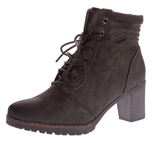 Damen Stiefeletten Sun & Shadow leicht gefüttert Schuhe Stiefel Block Absatz Grau Dirty Grau Gr. 37