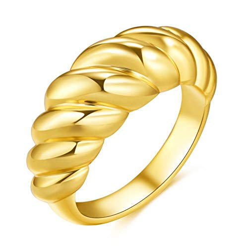 Gold Eternity Ring, Gold Plated Croissant Braided Twisted Signet Chunky Dome Ring Stacking Band for Women Minimalist Statement Ring Fashion Jewelry