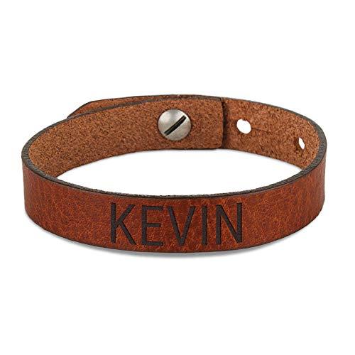Leren armband voor heren graveren - Bruin
