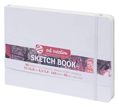 Talens Sketch Book - Cuaderno de dibujo (21 x 14,8 cm, 140 g/m², 80 hojas), color blanco