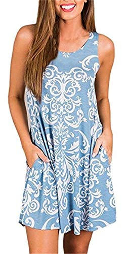 Summer Casual Tshirt Dresses for Women Swing Tank Dress Beach Swimsuit Cover Ups with Pockets S Light Blue