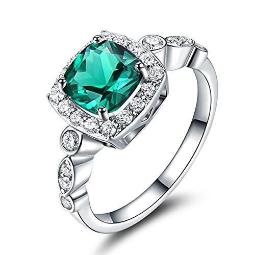 DAJIA Anillos de Plata de Ley 925 para Mujer Topacio Azul Piedra Preciosa Real Cojín de Aguamarina Regalo clásico romántico Compromiso Joyería Fina-5, Ruj018E-1 Verde, Plata 925
