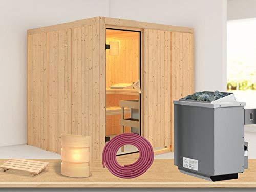 SAUNELLA Sauna mit Ofen | Gartensauna - Saunakabine Maße: 196 x 196 x 198 cm | Saunaofen Komplett Sauna Zubehör | Saunaofen mit int. Steuerung