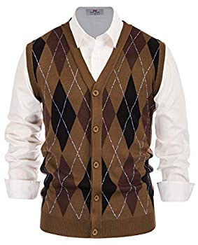 V Neck Sweater Vests Men s Relax Fit Sleeveless Cardigan Vest Knitted Brown L