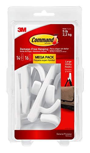 Command Large Utility Hook Mega Pack, White, 14-Hooks, 16-Strips, Organize Damage-Free