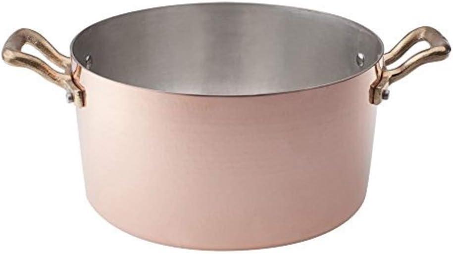 Durchmesser 18 cm Pentole Agnelli ALCM104M18 Hochkupfer-Topf mit 2 Messinggriffen handverzinnt 2 mm Geh/ämmertes Kupfer