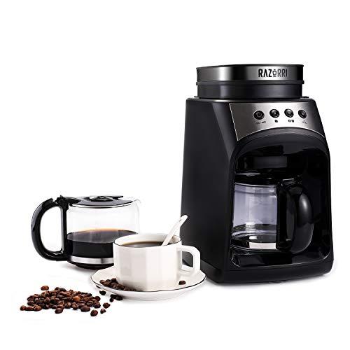 Razorri RCGE600A Kaffeemaschine | Filterkaffeemaschine mit Mahlwerk | Warmhalteplatte & Tropf-Stopp Funktion | 560ml Glaskanne, bis 4 Tassen | 175 x 280 x 295mm | 600 W, 60Hz