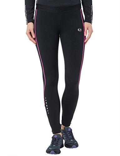Ultrasport Damen Thermo-Dynamic lang Laufhose, Schwarz/Neon Pink, M