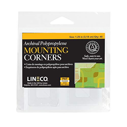 Lineco Self-Adhesive Polypropylene Mounting Corners, Full View, 1.25 inches, Package of 48 (L533-0035M)