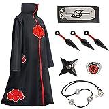 Akatsuki Cloak,Kids Naruto Cosplay Costumes,Itachi Robe Necklace and Ring,Naruto Headband And Akatsuki Cloak Set (Medium, Akatsuki-8 piece set)