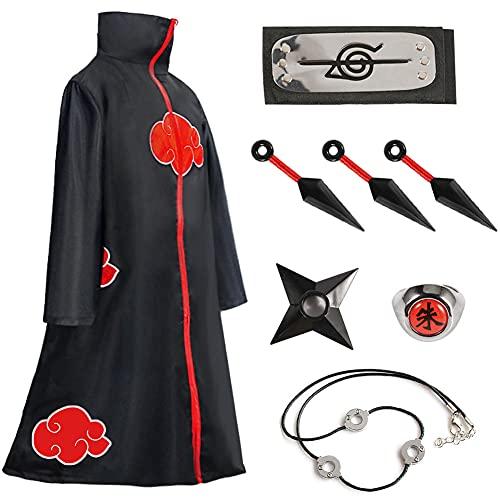 Akatsuki Cloak,Kids Naruto Cosplay Costumes,Itachi Robe Necklace and Ring,Naruto Headband And Akatsuki Cloak Set (Large, Akatsuki-8 piece set)