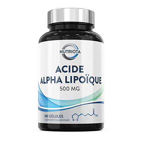 Acide alpha lipoïque (AAL) 500 mg | 180 gélules haute concentration adaptées aux végétaliens | Contribue à réduire les inflammations ainsi qu'à maintenir un taux de glycémie stable - par Nutriota