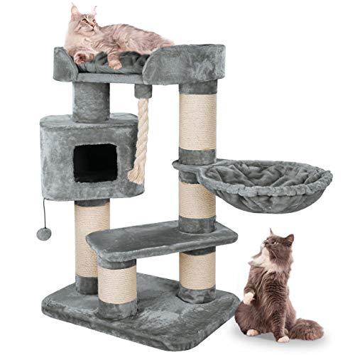 Happypet® Kratzbaum für Katzen groß 118 cm Katzenbaum geeignet für große Katzen (Maine Coon), stabile extra Dicke Sisal-Säulen ca. 15cm, geräumiges Haus GRAU