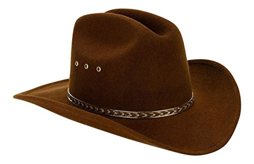 Brown Child Faux Felt Western Cowboy Hat with Brown and Gold Band