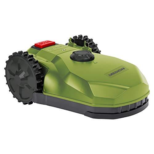MEDION Mähroboter (selbstfahrender Rasenmähroboter für kleine Gärten, bis 400 qm Rasenfläche, Steigung bis zu 20 Grad, Regensensor, Mulchfunktion, Diebstahlschutz, MD19727)