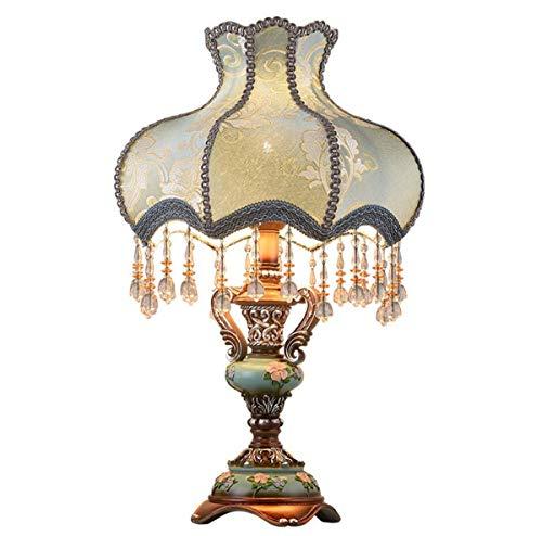 GDLight Lámpara de Mesa Vintage Lámpara de mesita de Noche romántica Americana Pantalla de Tela de Corte Azul Lámpara de Escritorio con Base Tallada en Resina para Sala de Estar de Dormitorio