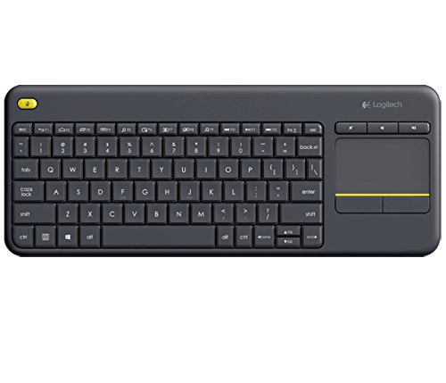 Logitech K400 Plus Kabellose TV-Tastatur mit Touchpad, 2.4 GHz Verbindung via Unifying USB-Empfänger, Programmierbare Multimedia-Tasten, Windows/Android/ChromeOS, Türkisch QWERTY-Layout - schwarz