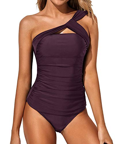 Tempt Me Women Purple Tankini Ruched One Shoulder Tummy Control Top with Shorts Two Piece Swimsuits XXL