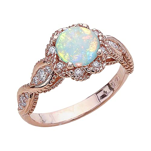 minjiSF Anillo de compromiso vintage para mujeres y hombres tallados con flores bohemias, anillos nudillos, anillos de pareja, anillo de diamante, joyas de oro rosa (oro rosa)