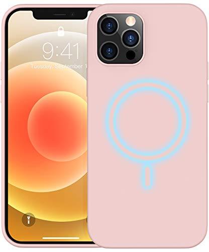 Temdan Kompatibel mit Magsafe, für iPhone 12 Hülle, für iPhone 12 Pro Hülle, mit Integrierten Magneten Liquid Silikon Hülle- 6.1 Zoll (Pink)