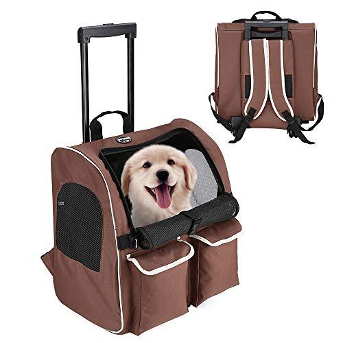 Pettom ペットキャリー キャスター 中型犬 キャリー 犬用 キャリーカート 猫 キャリーバッグ 手提げ リュック 車載 4way 折りたたみ 耐荷重10kg 43*43*30cm (コーヒー)